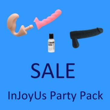 InJoyUs Party Pack Includes InJoyUs Plus 1 Pink Lilly and 1 Black Lela Dildo Attachment. And also a 50ml. Bottle Of Liquid Silk